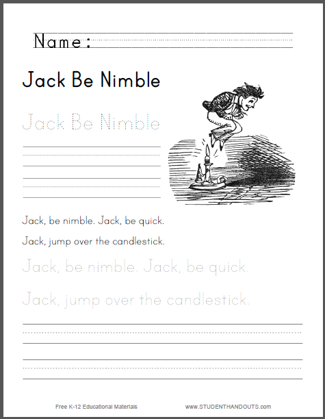 Jack Be Nimble Worksheet for Kids | Student Handouts | Teach ESL ...