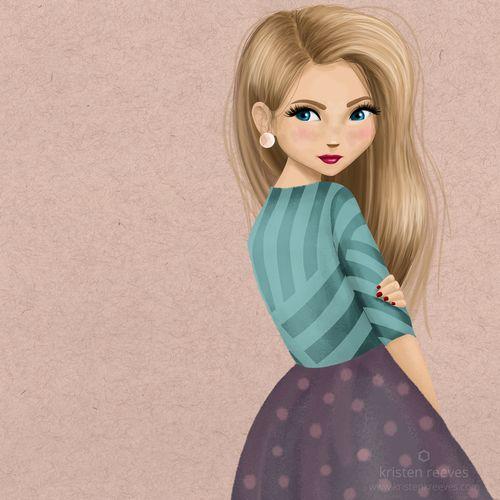 صور بنات كرتون مرسومة رمزيات بنات مرسومات Cute Messy Buns Pop Art Girl Girl Cartoon
