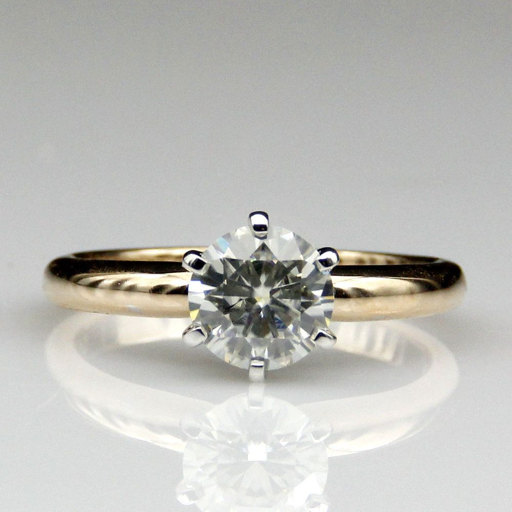 ct vvs round moissanite solitaire wedding ring yellow gold