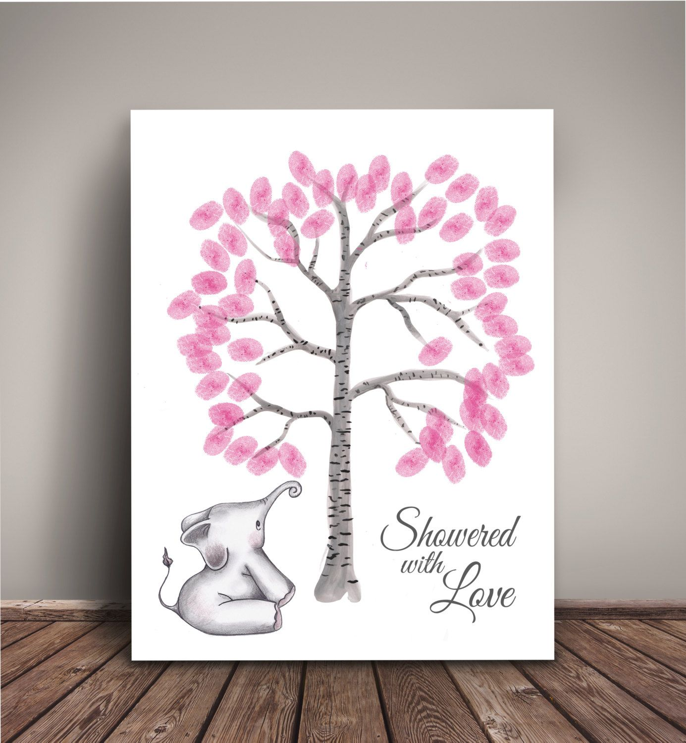 book thumbprint birch tree elephant baby shower fingerprint tree