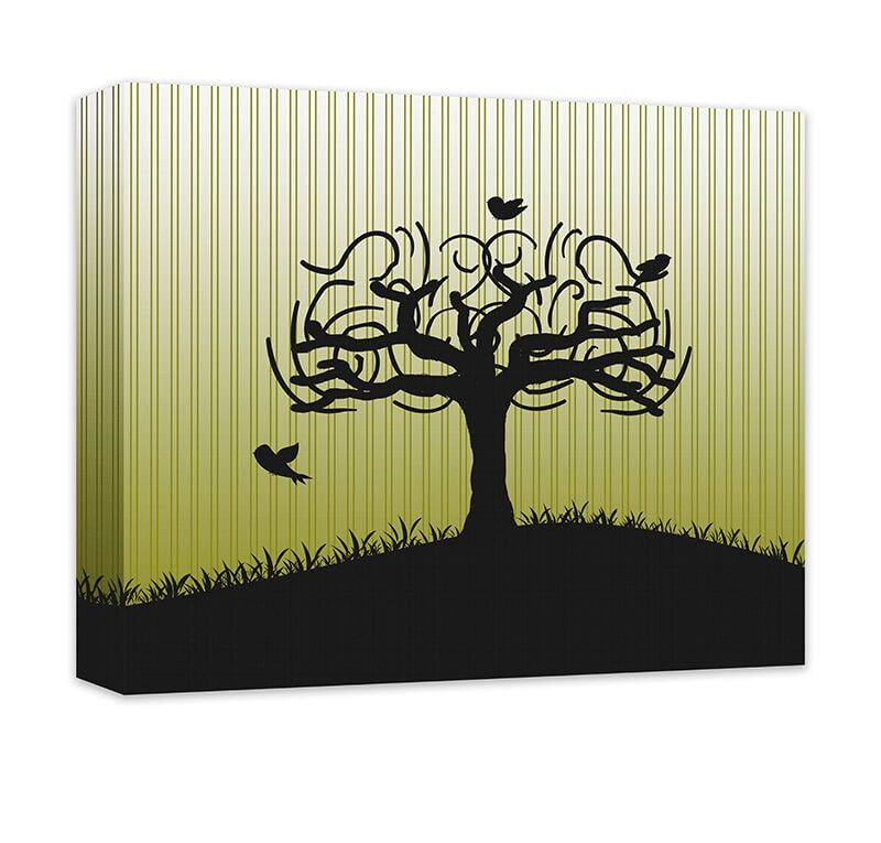 Birds in Whimsical Tree Canvas and Print Wall Art. Tree design home ...
