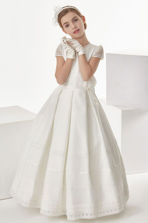 Floor length communion dress with bow s kommunion kommunion - Festliche kleider kommunion ...