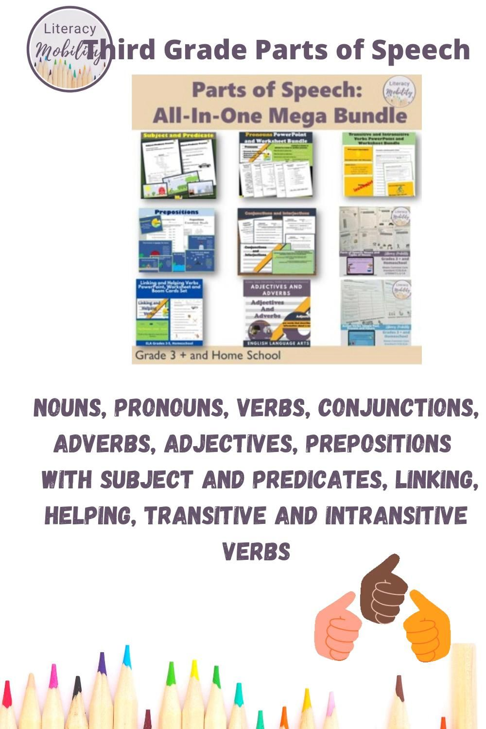 Parts Of Speech All In One Mega Bundle Video Video Upper Elementary Resources Parts Of Speech Activities Third Grade Resources