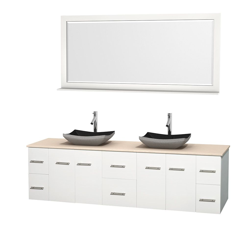 Wyndham collection centra inch double bathroom vanity in white w