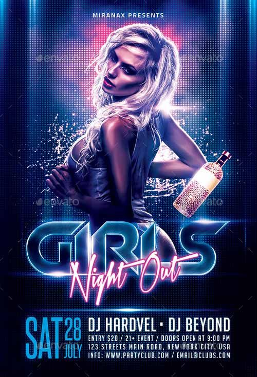 girls night out flyer template flyer flyer template party