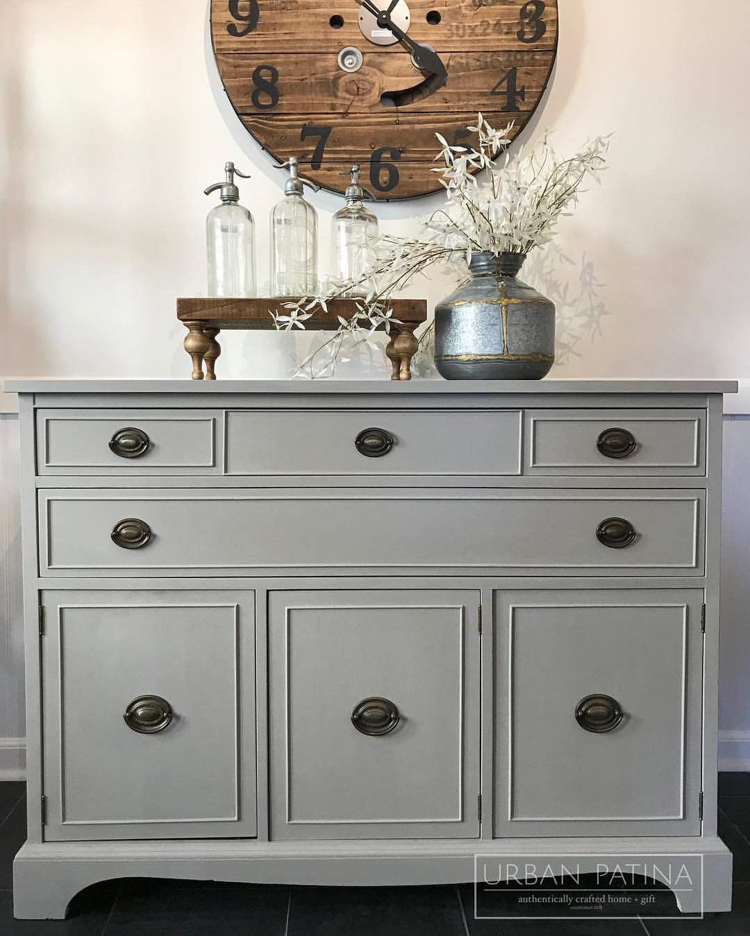 Modern Buffet Annie Sloan Chalk Paint Custom Grey Mix French Linen Pure Painted Furniture Furniture Furniture Makeover