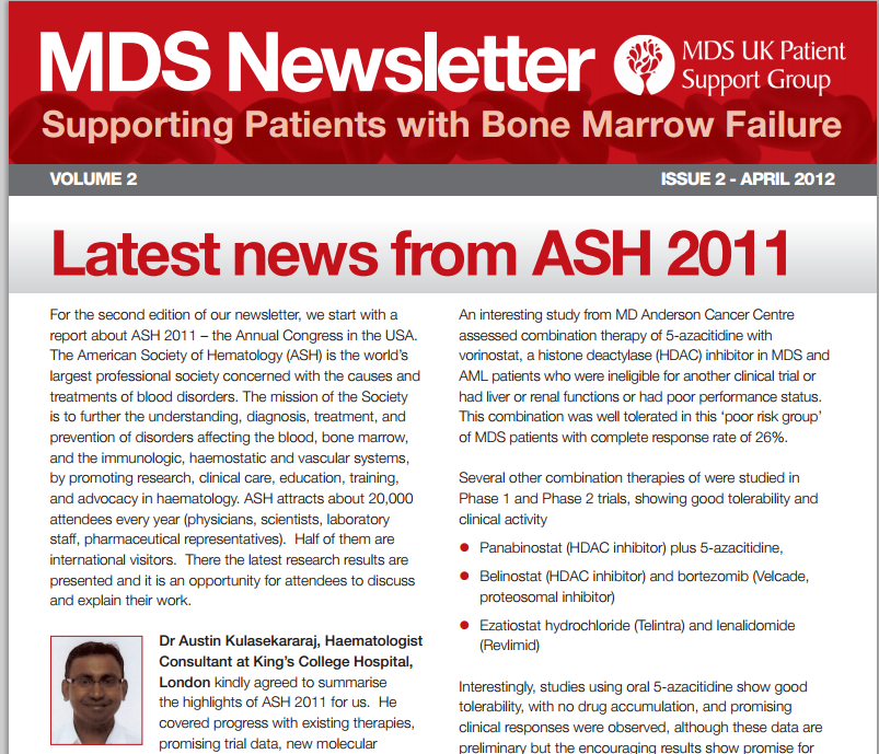 Newsletters MDS UK Support group, Md anderson cancer