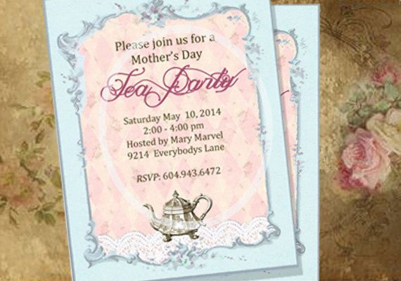 Mother's Day Tea Party Invitations Custom Printable by sssstudio, ETSY