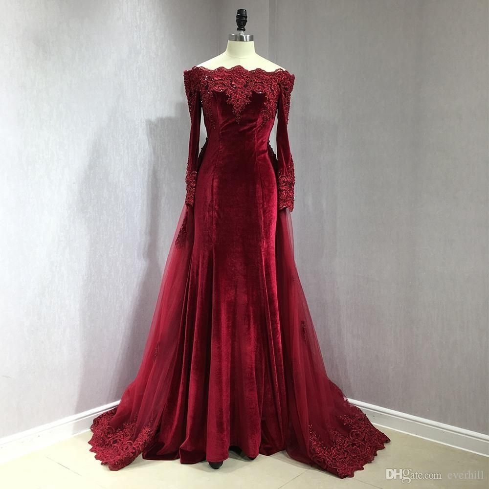 JaneVini Arabic Long Sleeve Evening Dresses with Detachable Train Mermaid Formal  Dress 2018 Burgundy Velvet Boat Neck Lace Beaded Party Gown 128352c95d30