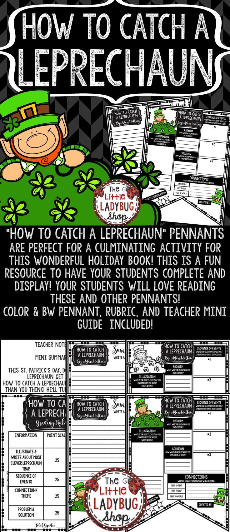 How To Catch A Leprechaun Book Review Template St Patrick S Day Reading All Things Educational Reading Activities Book Review Template Teacher Freebies [ 1703 x 736 Pixel ]