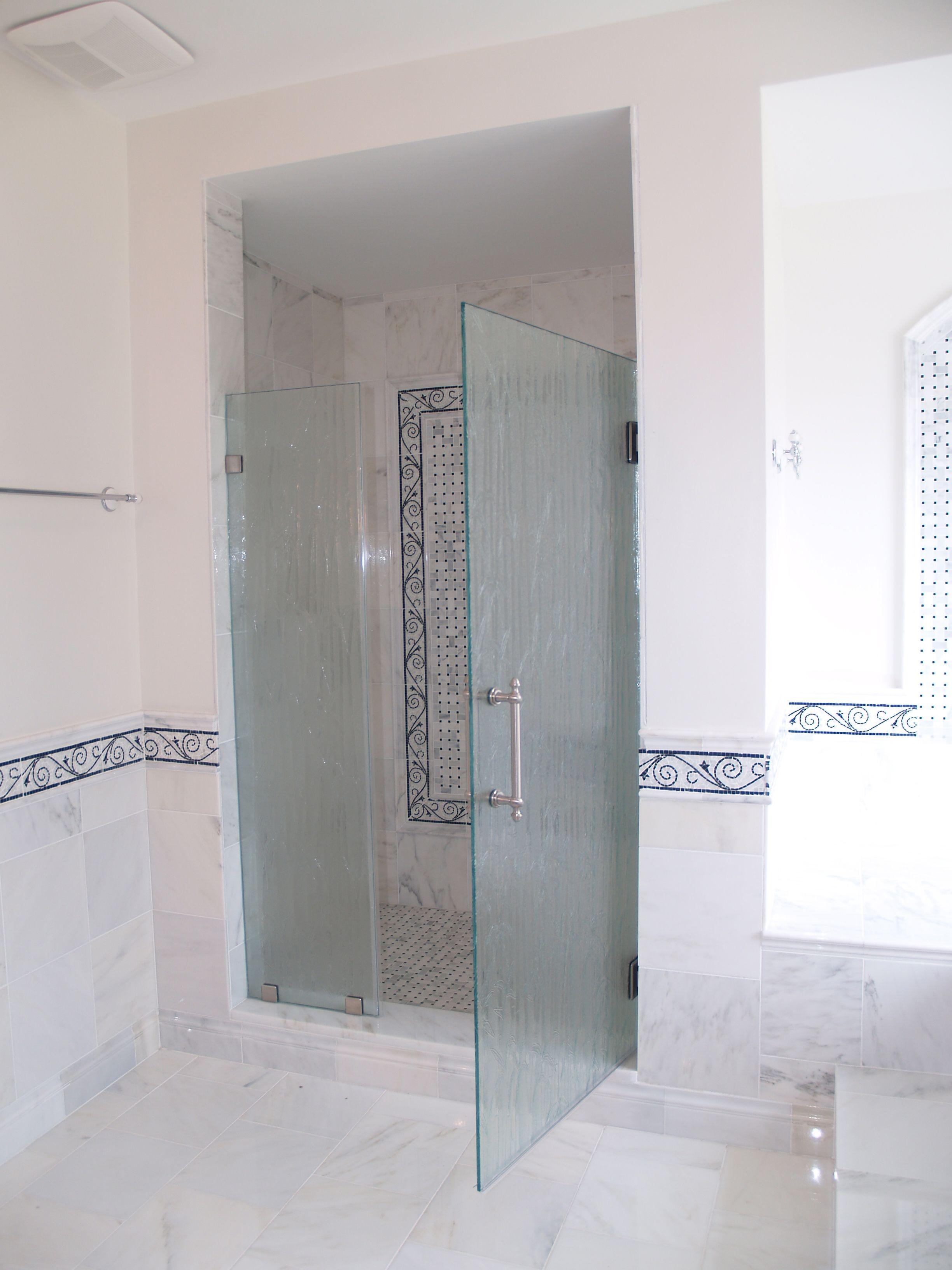 Frameless Shower Door In 38 Thick Bamboo Tempered Glass