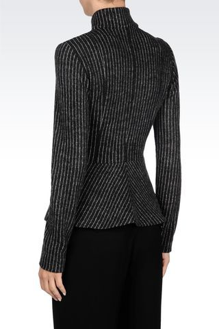 Emporio Armani Women Dinner Jacket - JACKET IN PINSTRIPE WOOL Emporio Armani Official Online Store