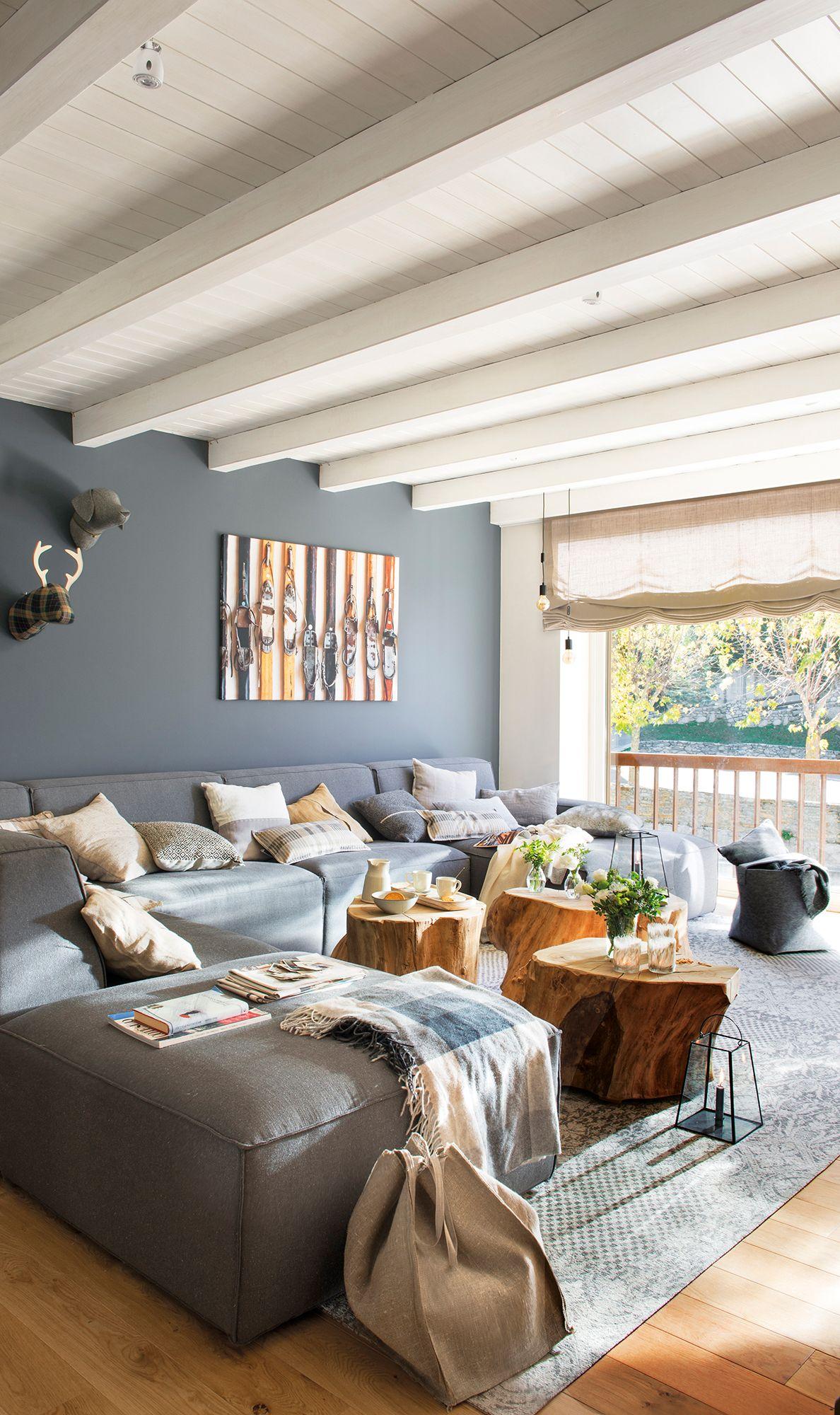 Alfombras Con Motivos Techo De Madera Pintada Salones Grises Colores Para Casas