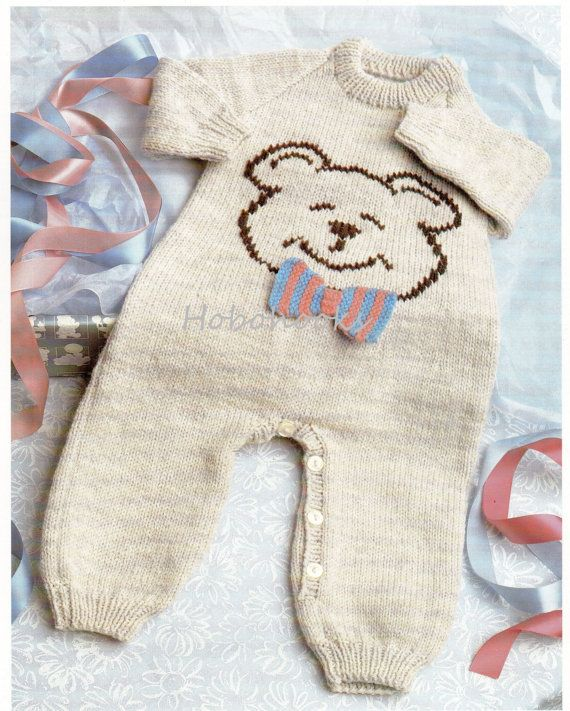 Baby Teddy Bear All In One Knitting Pattern Pdf Button Legs Baby