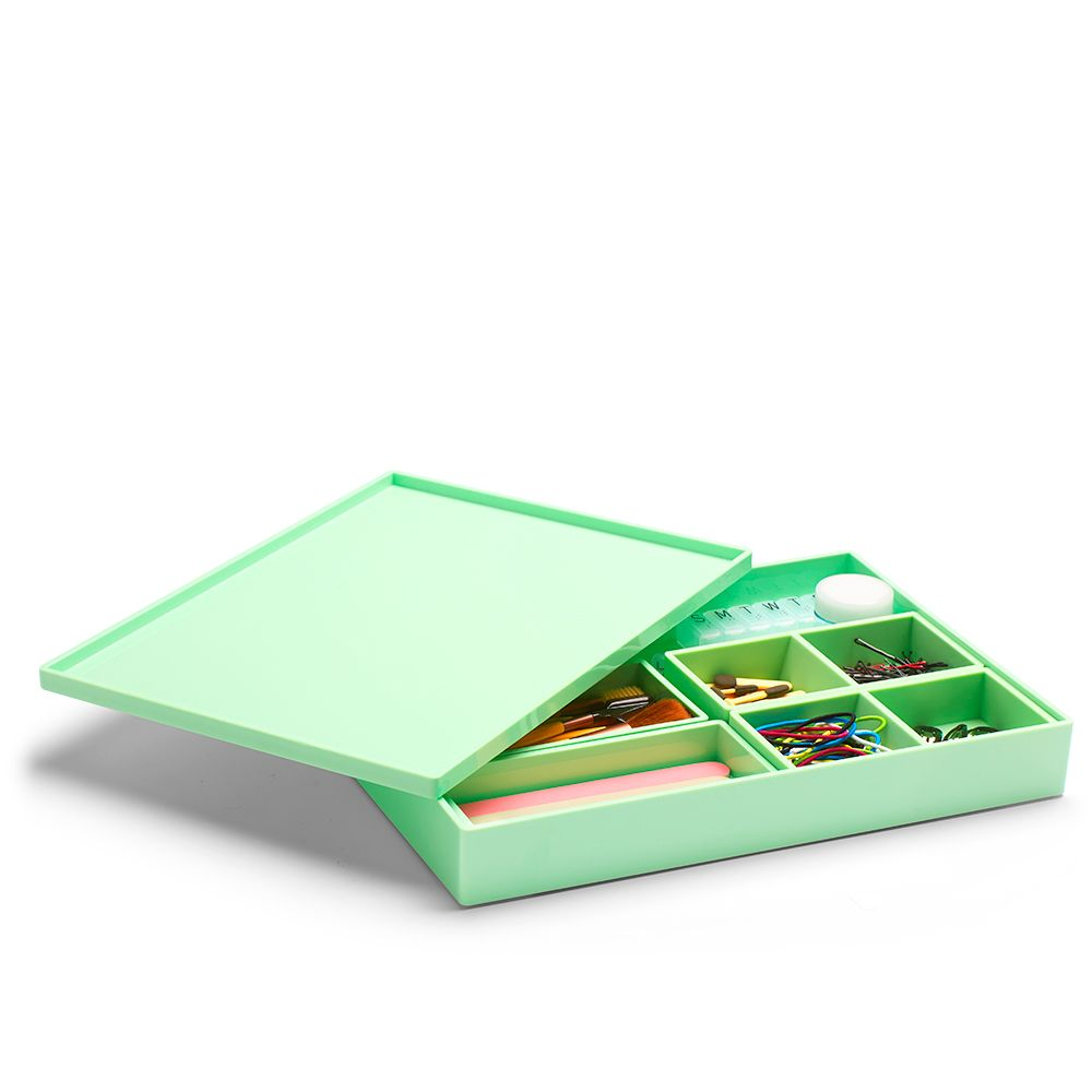 cool office supplies. Poppin Mint Large Slim Tray | Modern Desk Accessories Cool Office Supplies #workhappy A