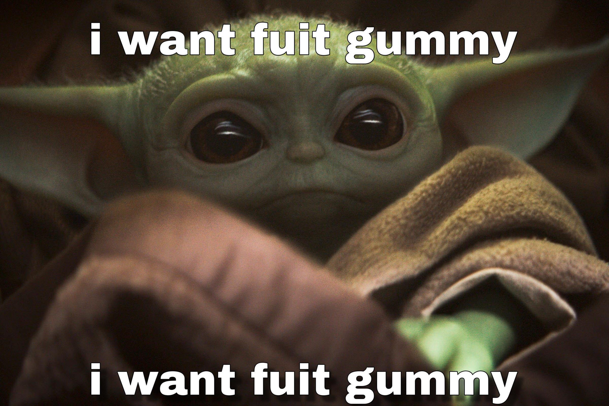i want fuit gummy Yoda meme, Star wars, Bored panda