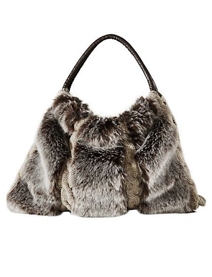 c57cad59af3 Heine shop fake fur handbag brown small nep bont handtas bruin klein