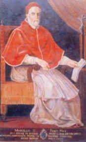 """222.- Marcelo II (1555)  Nació en Montepulciano. Elegido el 10.IV.1555, murió el 1.V.1555. Fue el último que conservo el nombre de bautismo. Trazó en la curia un signo de justicia y austeridad. Se preocupó de los pueblos Rusos y mongoles. Pierluigi de Palestrina compuso la famosa """"Misa de Papa Marcelo""""."""