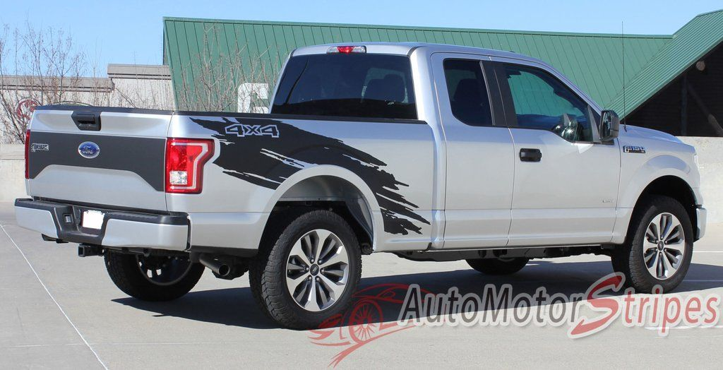 Ford F Torn Truck Bed Mudslinger Style Side Vinyl - Truck bed decals customford fvinyl graphics for bed fender