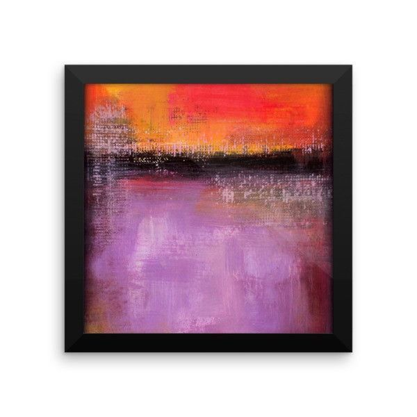 Abstract Sunset - Purple and Orange Wall Art - Framed Poster