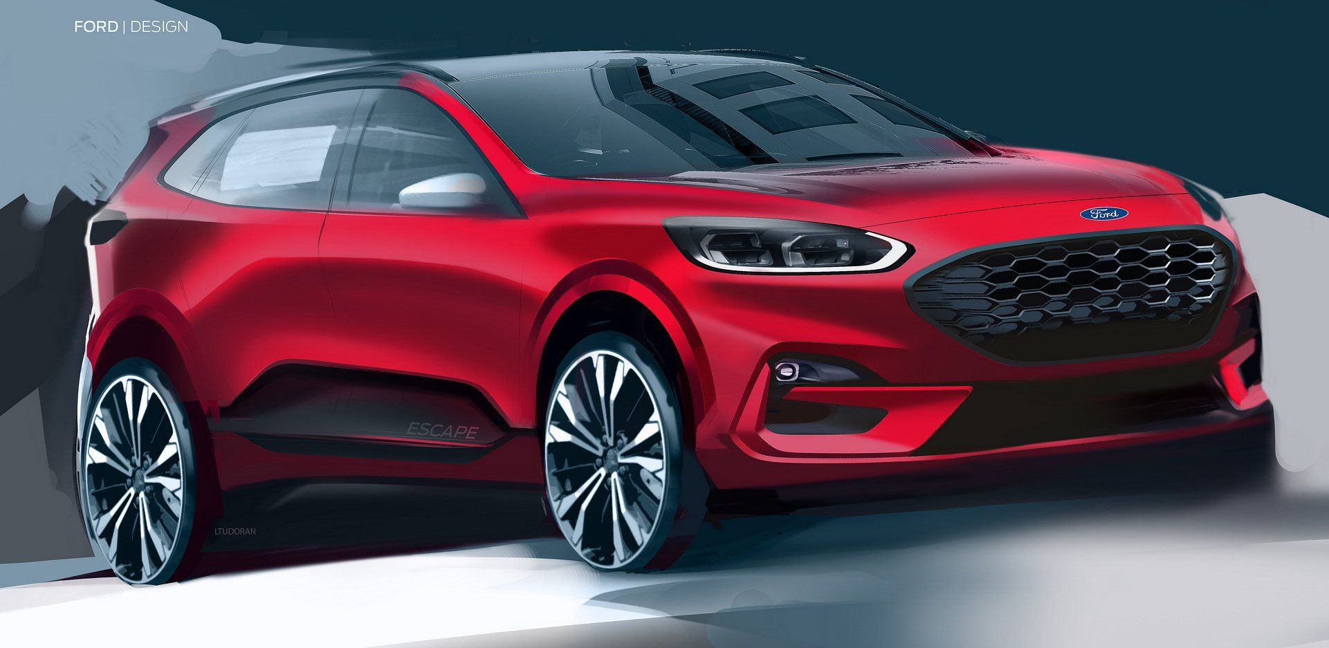 New Ford Kuga Reinvents Itself As A Stylish Suv With Three Electrified Options Ford Car Design Sketch Automotive Design