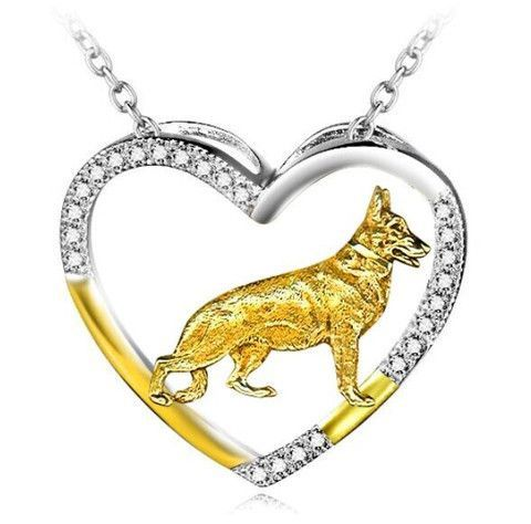 Sterling Silver Womens 1mm Box Chain 3D Small Standing German Shephard Dog Breed Pendant Necklace