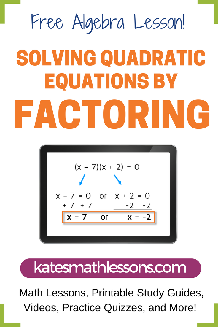 Solving Quadratic Equations by Factoring | Algebra, Equation and ...