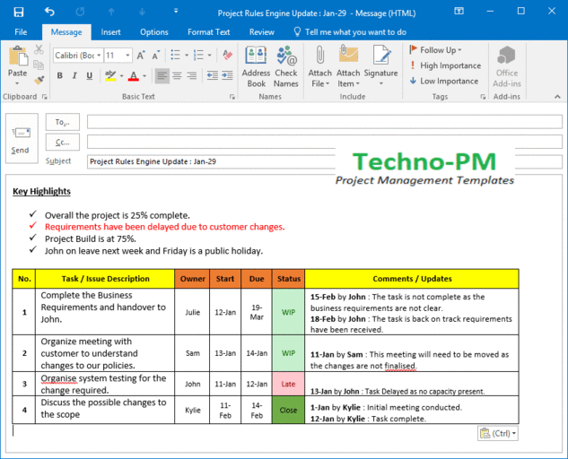 Project Update Detailed Outlook Template Project Status Report Project Management Templates Excel Tutorials