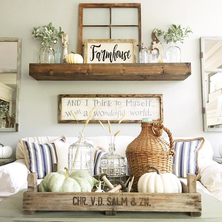 Farmhouse Living Room Wall Decor Behind Couch