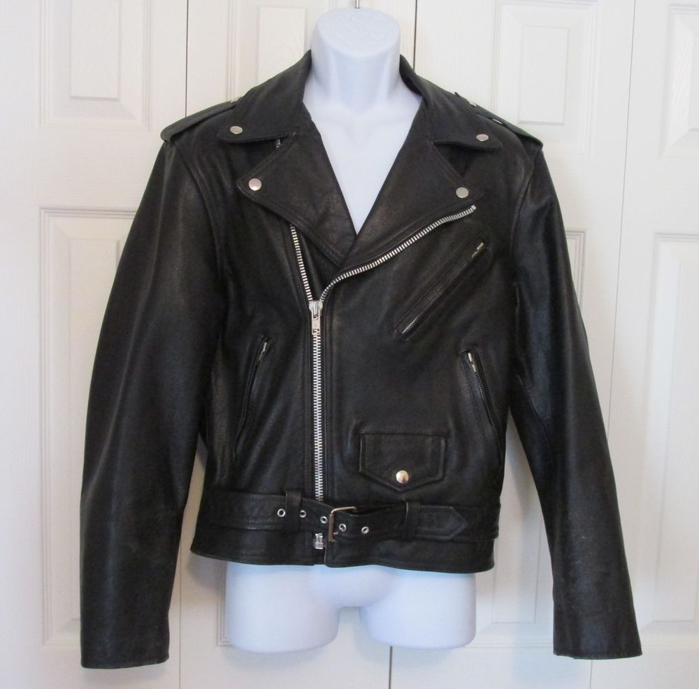Vintage Black Leather Motorcycle Coat  heavy and protective Cooper Mens Small #motorcycle #leatherjacket
