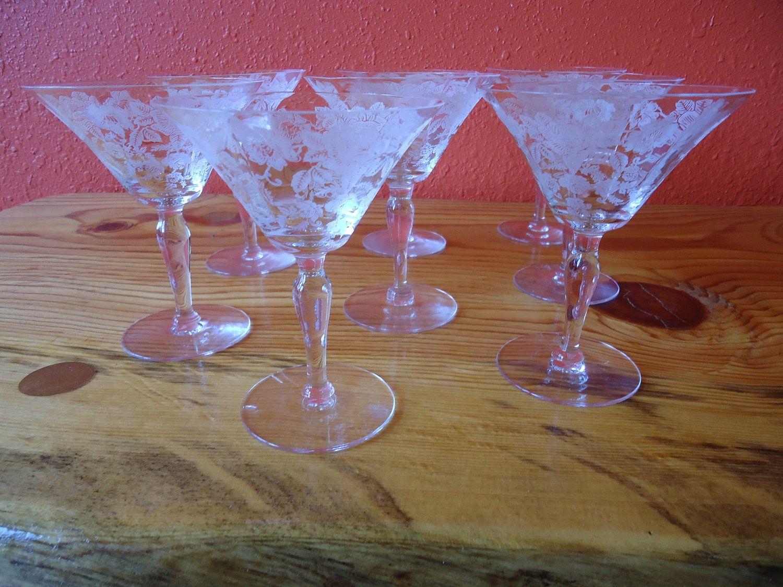 Set of 8 Etched Cocktail Glasses. $65.00, via Etsy.