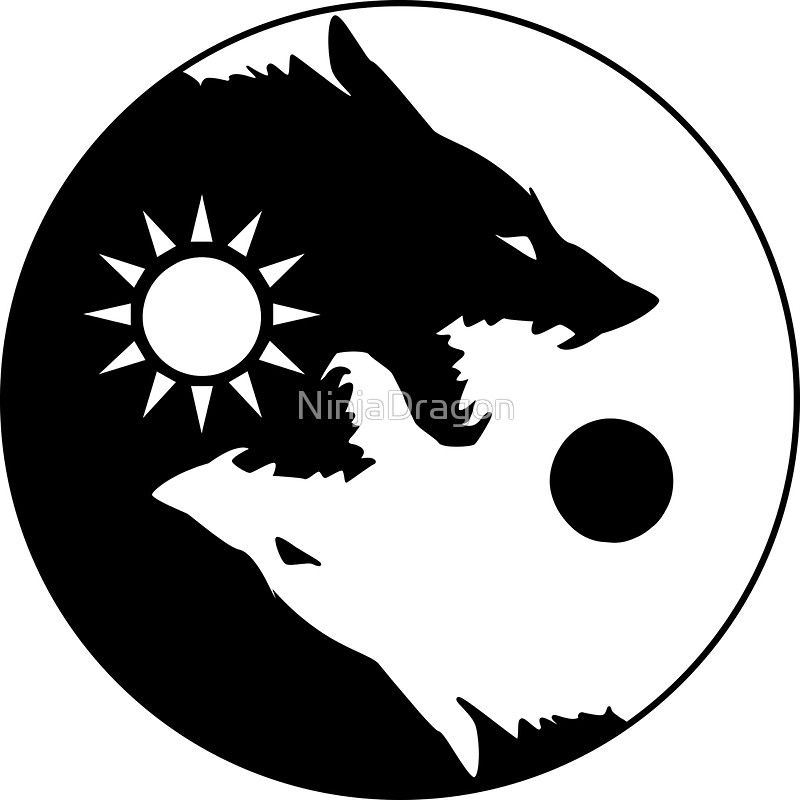 Skoll and Hati Sticker by NinjaDragon