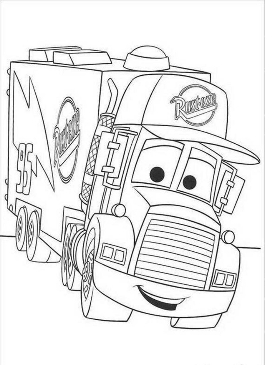 download and print coloring pages for mack the truck disney cars [ 900 x 1240 Pixel ]