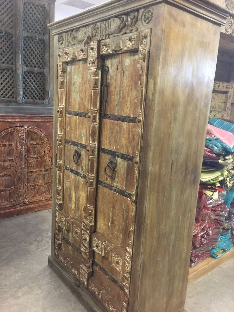 Antique Old Doors Armoire Indian Furniture Iron Storage Cabinet
