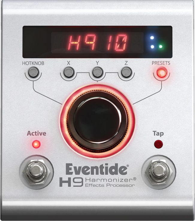 The H9 delivers Eventide's acclaimed sound and can run all of Eventide's stompbox effects. It features a simple, one-knob user interface and also connects wirelessly via Bluetooth to iPods, iPhones and iPads for creating and managing presets, live control and in-app algorithm purchases.