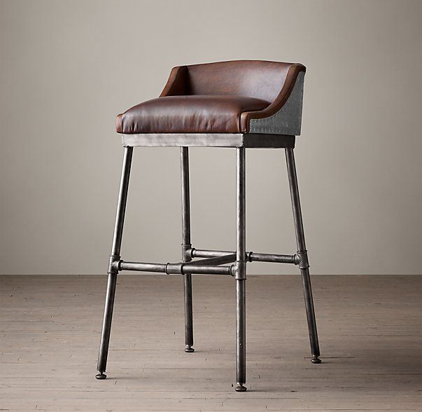 Iron Scaffold Leather Stool Chairs Loft Leather Stool Bar Chairs