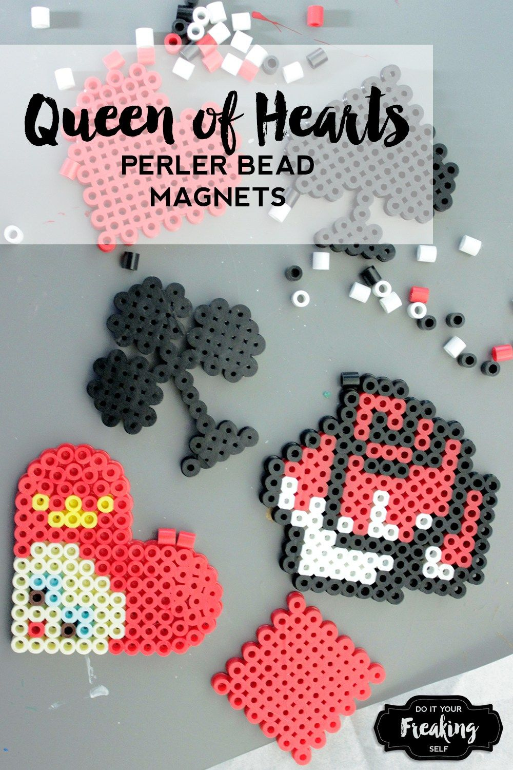 DIY Queen of Hearts Magnets | Perler beads, Bead patterns and Disney s