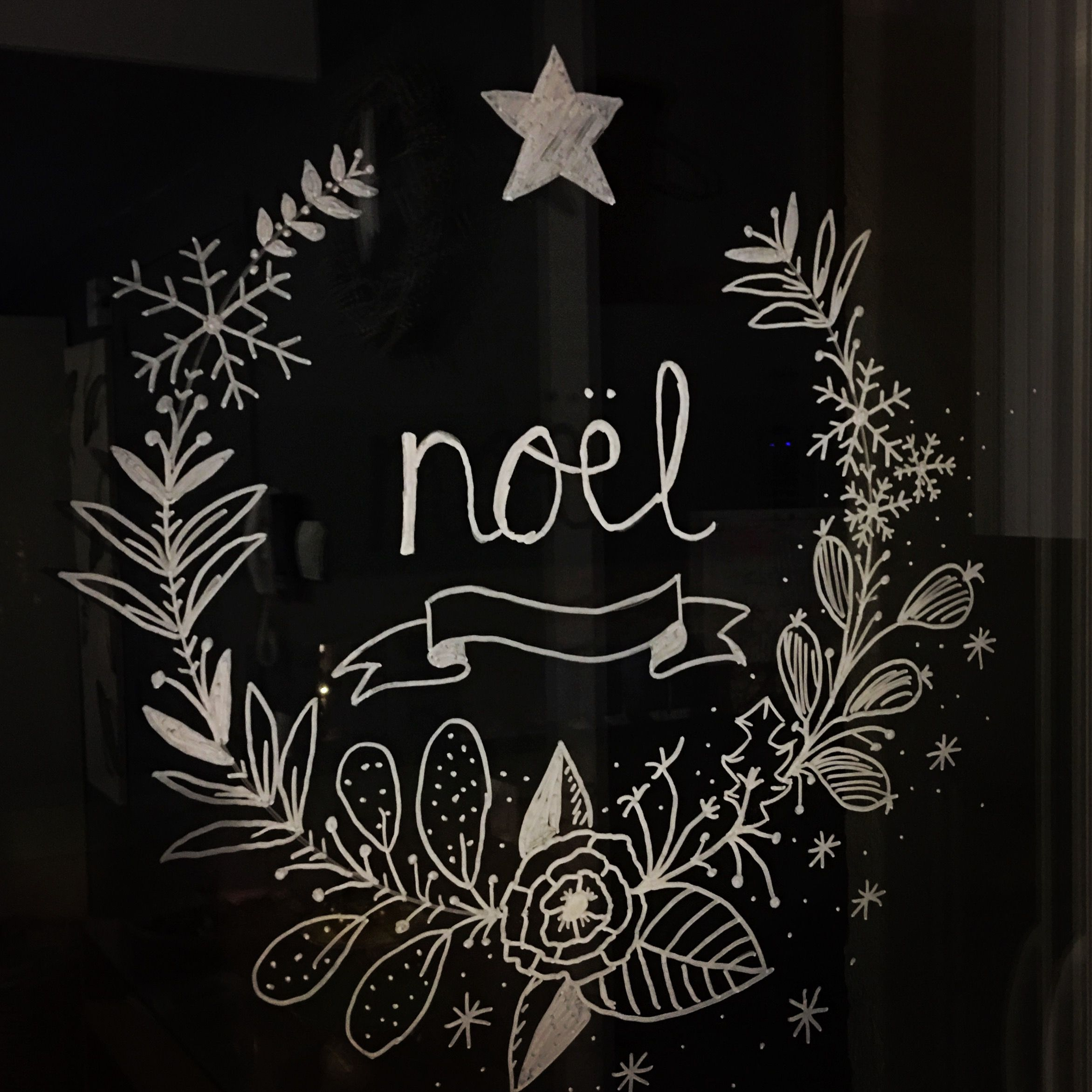 Decoration de noel dessin fenetre for Decoration fenetre noel blanc