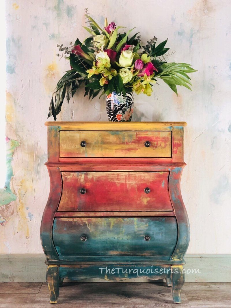 Ombre Side Table Hand Painted Chest Small Painted Table Sunset Dresser Furniture Makeover Diy Tutorials Rustic Farmhouse Furniture Furniture Makeover Diy
