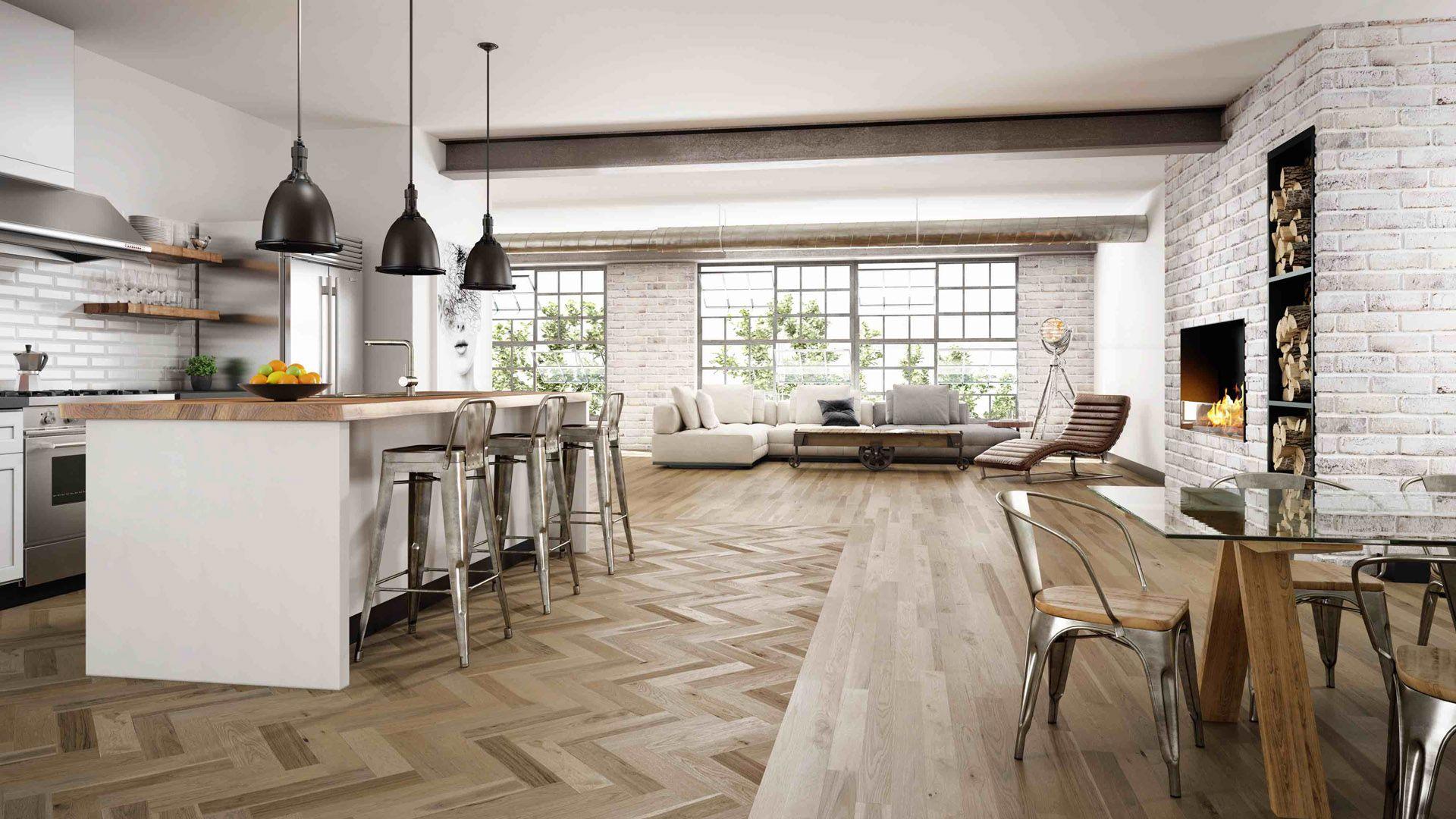 Kub Studio 3D image Herringbone wood floor, Wood floor