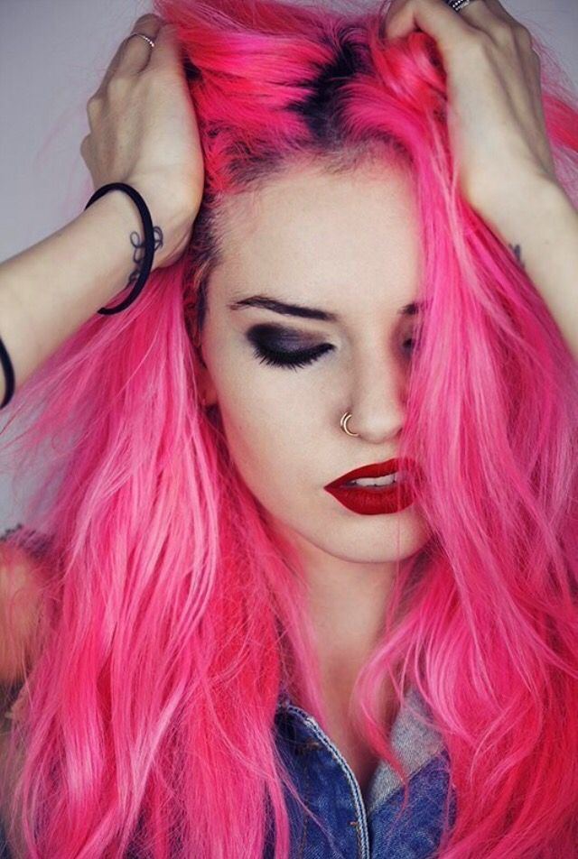 long messy hot-pink punk hairstyle