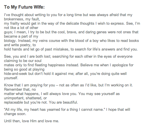 future husband poems | heatherlydee: to my future spouse | Dear