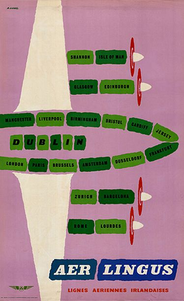 French poster for the Aer Lingus route network with Dublin ...