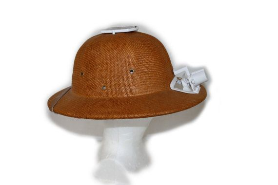 54fbf55ac6d1ff Vintage hat Safari Pith Helmet Solar or Battery Powered Fan Cooled ...