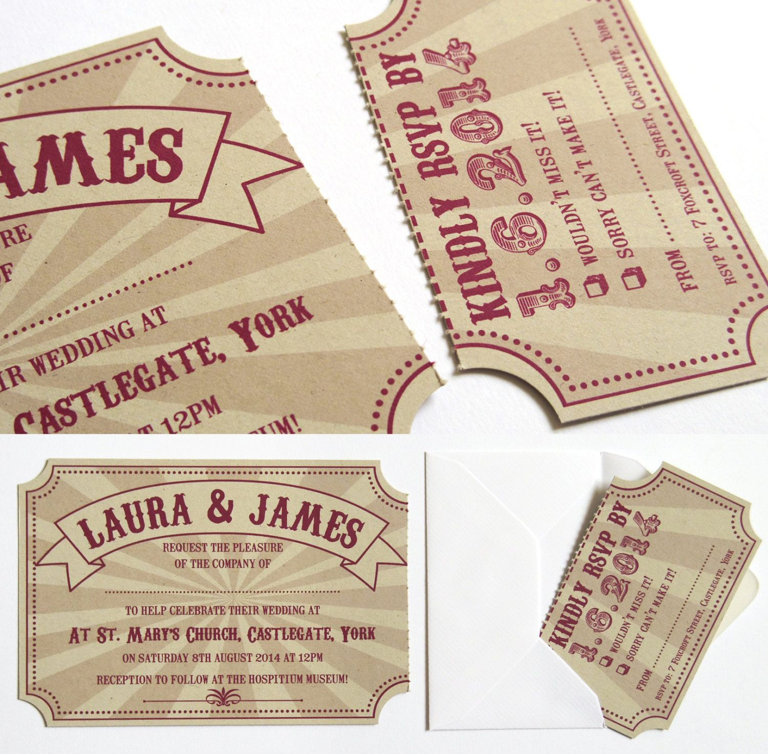 Circus Ticket Wedding Invitation Fun Fair Carnival the invite