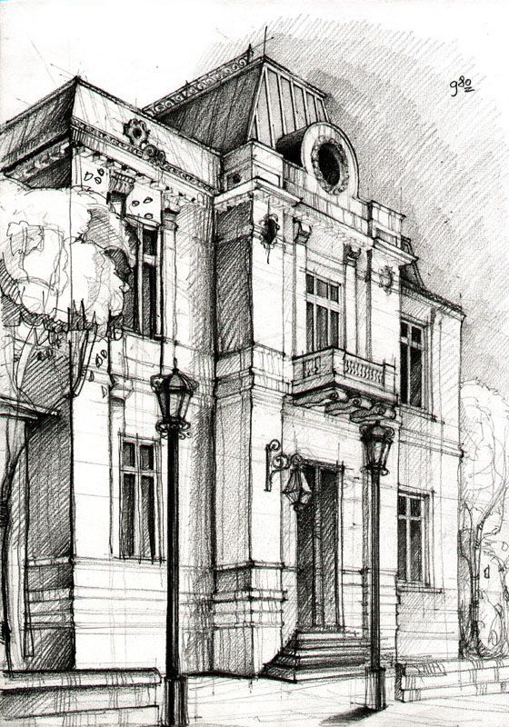 Pen and ink illustration of a building  #perspectivedrawing