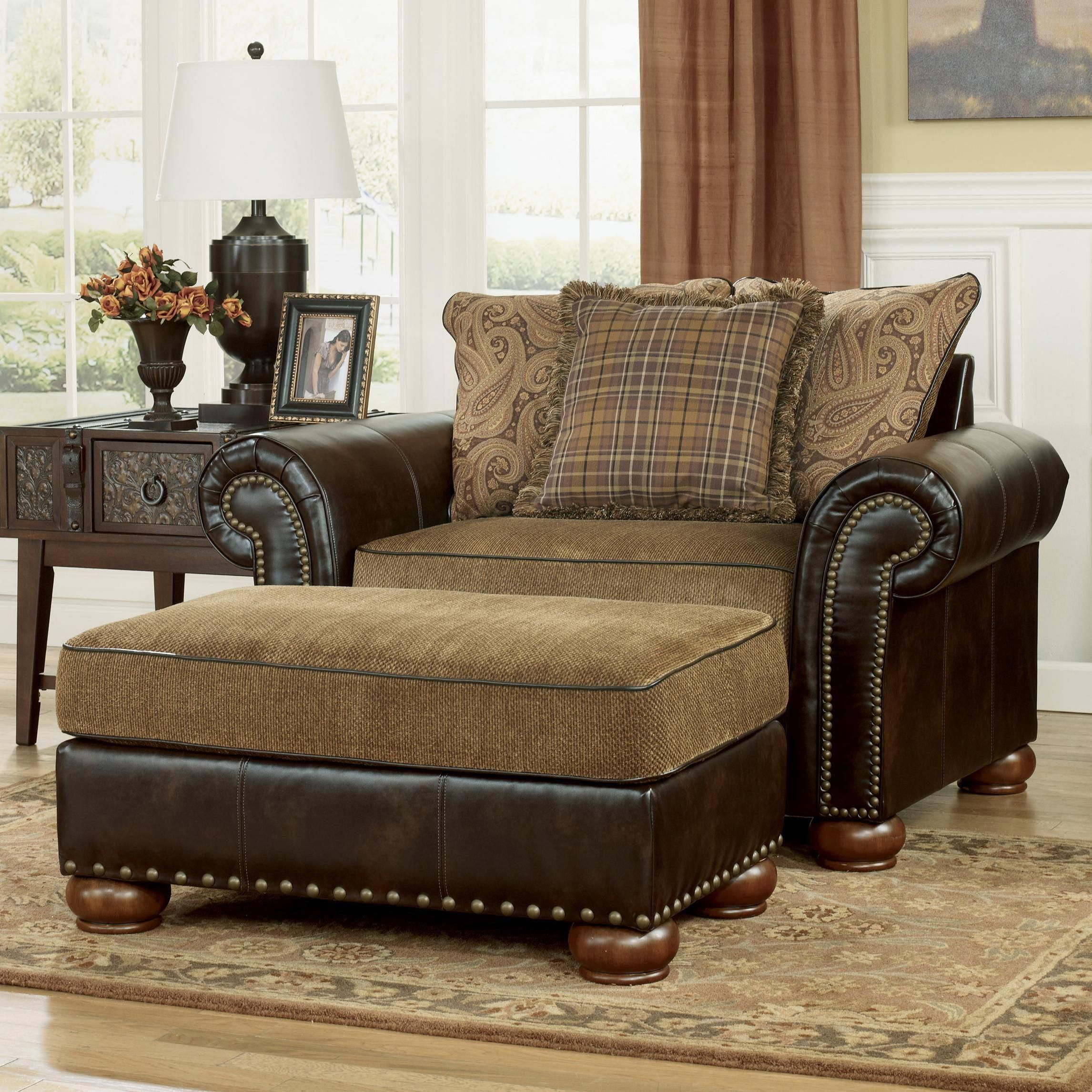 Briar Place Antique Fabric/Faux Leather Chair and a Half