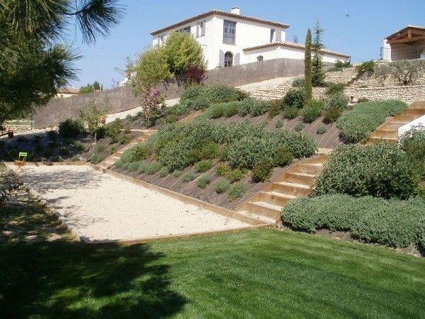 Resultado de imagen de jardin en pendiente desnivel for Jardines en desnivel
