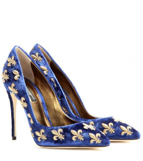 8b1f02fae7d6 Dolce   Gabbana - Blue Kate Embroidered Velvet Pumps - Lyst