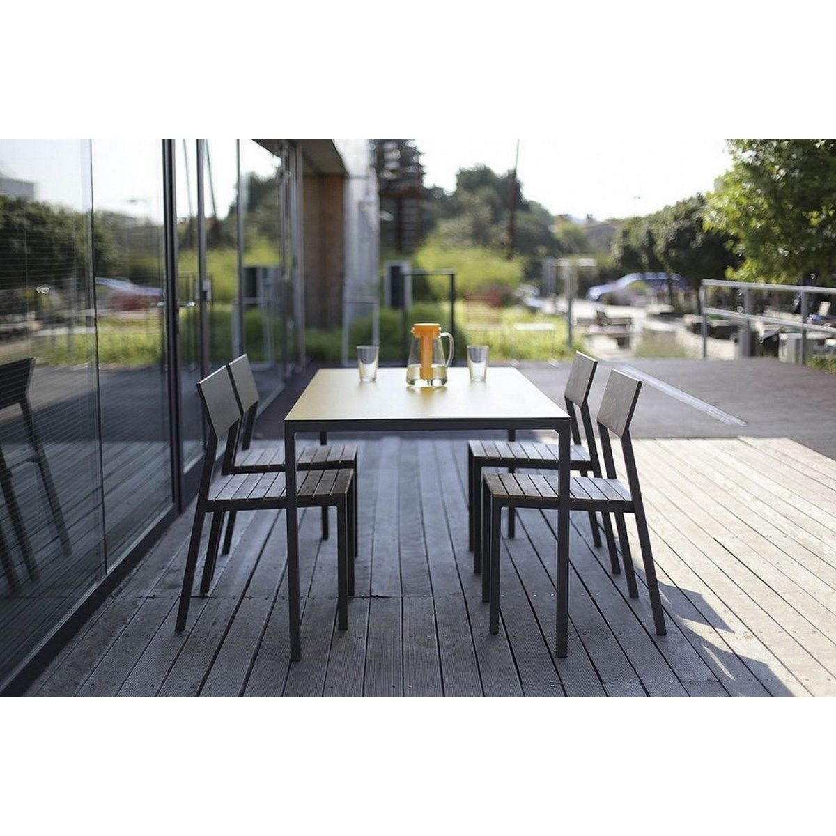 Salon De Jardin Cora Table Rectangle Plateau Hpl Jaune Et 4 ...